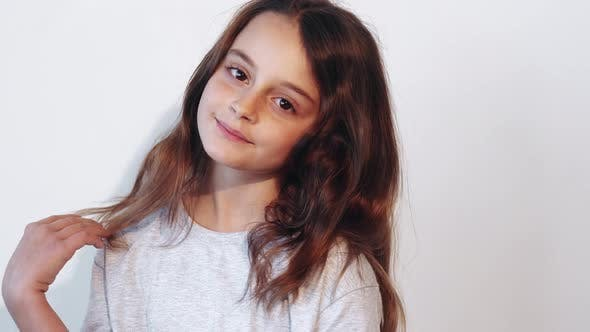 Child Haircare Natural Beauty Girl Touching Hair