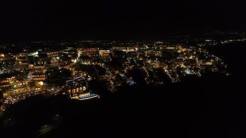 Aerial View of Famous Greek Resort Thira at Night