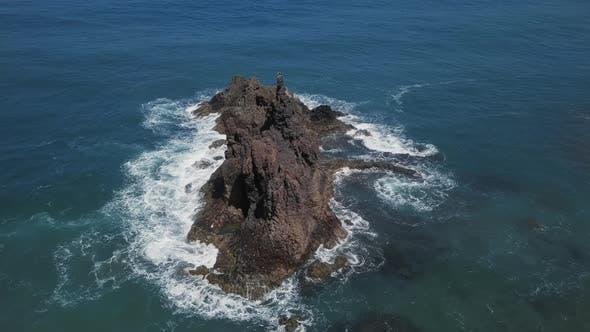 Aerial of Remote Rock Benijo, Tenerife