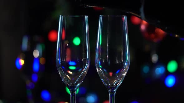 Thumbnail for Celebration with Two Clinking Champagne Glasses. Close Up