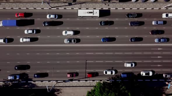 Thumbnail for Aerial Top Down View of Urban Traffic Jam