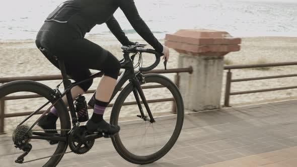 Cycling along seashore