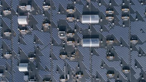 Green Technology Energy, Eco Solar Arrays on Roof of House Outdoors, Aerial View