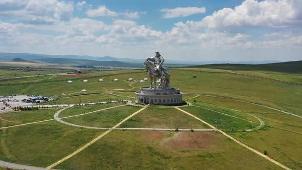 Thumbnail for Aerial Around View of Genghis Khan Statue Mongolia