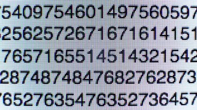 Numbers on a computer screen