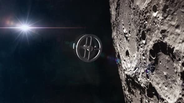 Thumbnail for Rotating Space Station In Orbit Around The Moon