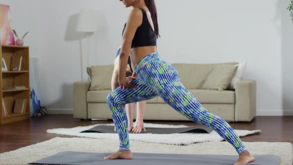 Thumbnail for Two Athletic Women Practicing Yoga at Home