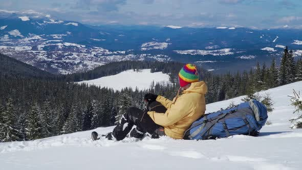 Thumbnail for Traveller in the Mountains in Winter