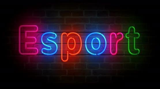 Esport neon on brick wall loop