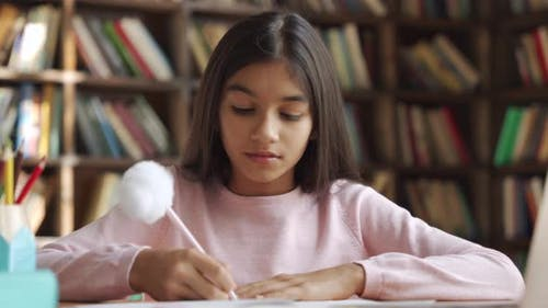 Glückliches indisches Schulmädchen, das Online-Klasse lernt Videostunde auf dem Laptop