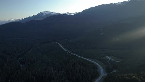 Thumbnail for Cinematic Sunset Aerial Of Callaghan Road Near Whistler Canada