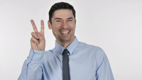 Thumbnail for Excited Businessman Gesturing  Victory Sign