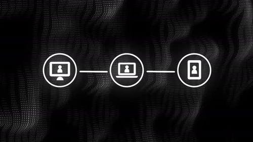 Animation of three white digital computer interface icons on mesh black background