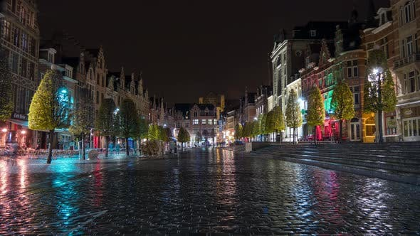 Thumbnail for Night timelapse in the city of Leuven