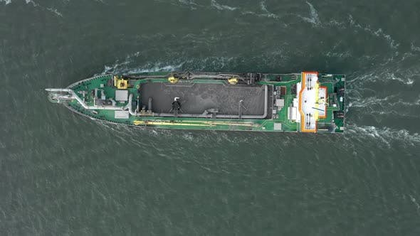 Bird's Eye View of a Dredging Ship at Sea