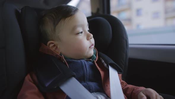 Thumbnail for Sleepy Toddler Boy Sitting in Moving Car