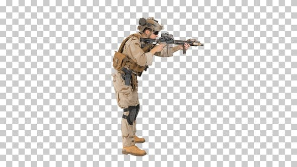 Soldier aiming and shooting automatic rifle, Alpha Channel