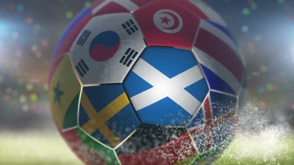 Thumbnail for Scotland Flag on a Soccer Ball - Football in Stadium