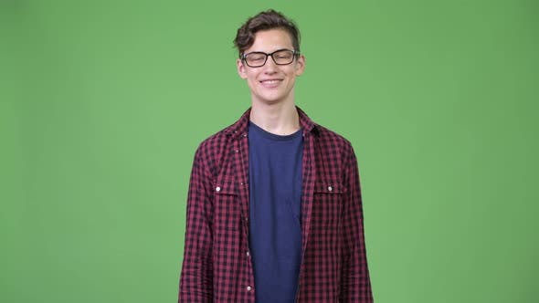 Thumbnail for Young Handsome Teenage Nerd Boy Smiling