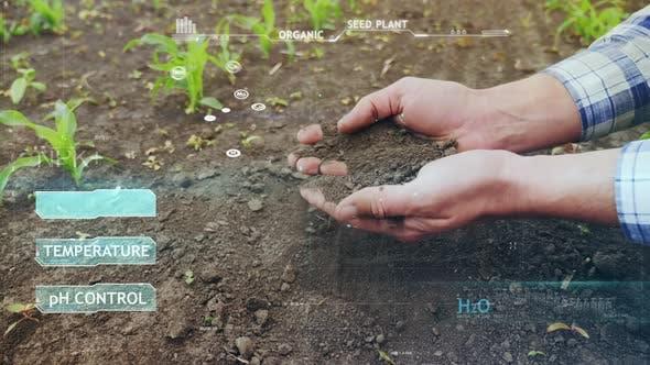 Farmer Checks Soil Moisture in the Field. Red Indicator Flashes