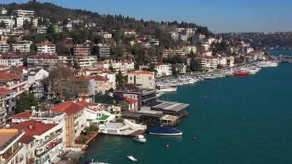 Cover Image for Istanbul Bebek Bosphorus Marine And Boats Aerial View 3