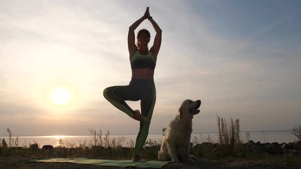 Thumbnail for Fit Woman Practicing Yoga on Sea Shore at Sunset