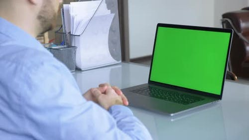 tablet laptop computer with green screen chroma key display internet business office technology