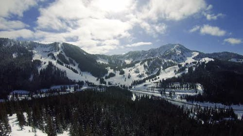 Spring Weather Conditions Aerial Of Snow Recreation Resort