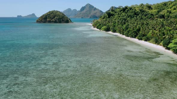 Thumbnail for Aerial Drone Flying Over Shallow Clear Water Along Paradise Tropical Beach with Coconut Palms