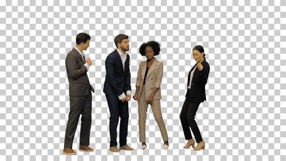 A group of young people in business suits dancing, Alpha Channel