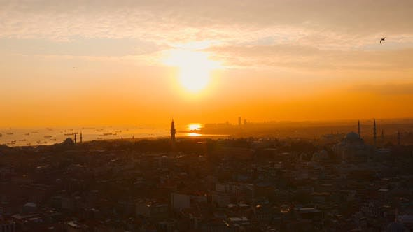 Thumbnail for Aerial Istanbul City And Sea Sunset With Ships 2