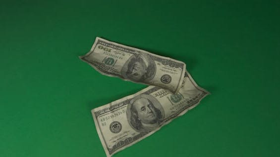 Thumbnail for Dollars. American Money Close-up on a Green Background Hromakey . 100 Dollar Bills. One Hundred