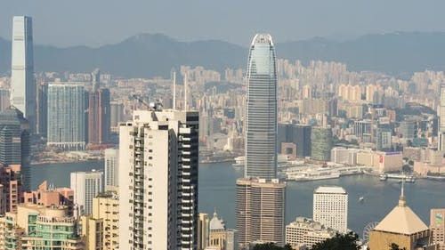 Hong Kong Central Skyline and Star Ferry in Victoria Harbour