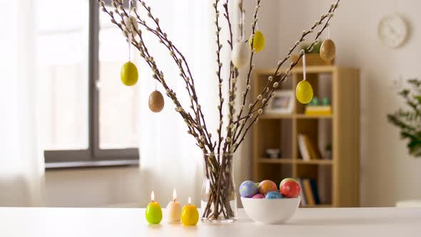 Thumbnail for Easter Eggs, Willow and Candles Burning at Home