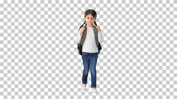Thumbnail for Smiling little girl walking to school, Alpha Channel