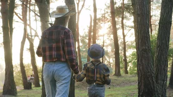 Thumbnail for Grandfather and His Small Grandson which Going Fishing with Rods