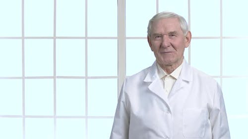 Old Cheerful Grandpa in White Suit.