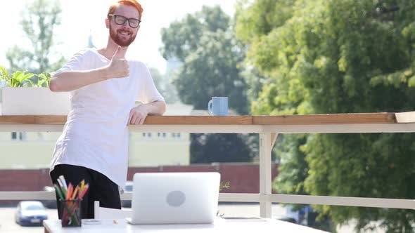Thumbnail for Thumbs Up, Designer Standing in Balcony of Office Outdoor, Gesture