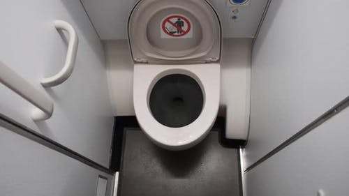 Public Toilet in the Airplane Airplane Bathroom