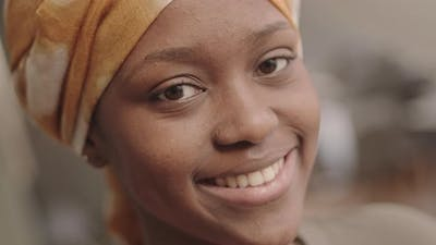 Close-Up Portrait of Smiling African American Woman