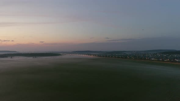 Gorgeous Summer evening fog in field 02