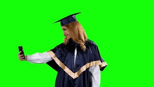 Thumbnail for Graduate Take Self Portrait. Green Screen