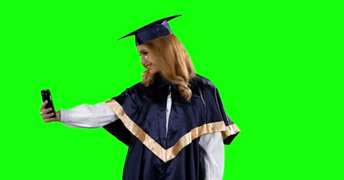Graduate Take Self Portrait. Green Screen