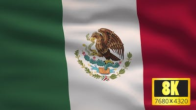 8K Mexico Windy Flag Background