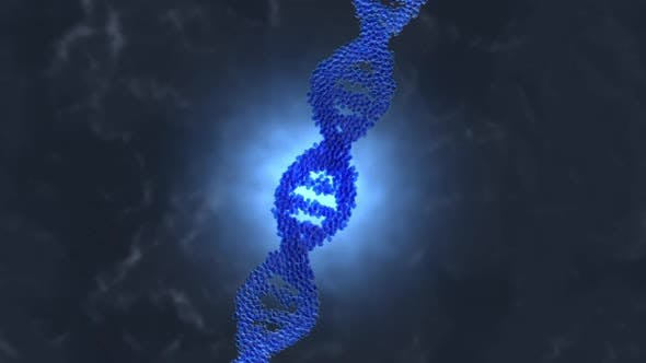 A DNA double Helix forming out of Molecules