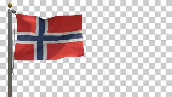 Norway Flag on Flagpole with Alpha Channel - 4K