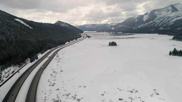 Thumbnail for Interstate 90 Freeway Snow Aerial In Washington State