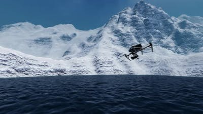 Drone Flying in Icebergs