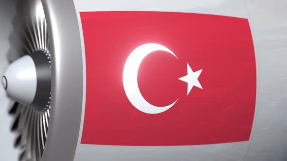 Thumbnail for Airplane Engine with Flag of Turkey