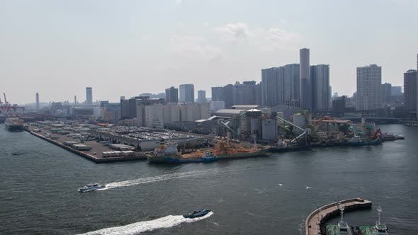 Thumbnail for Timelapse Tokyo Industrial District Surrounded By River